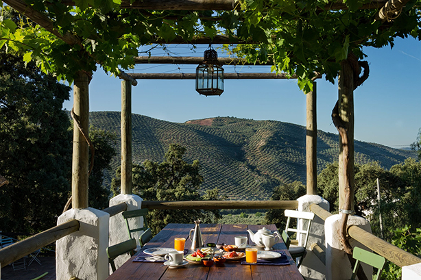 breakfast with a view at gourmet b&b Finca Las Encinas near Iznajar