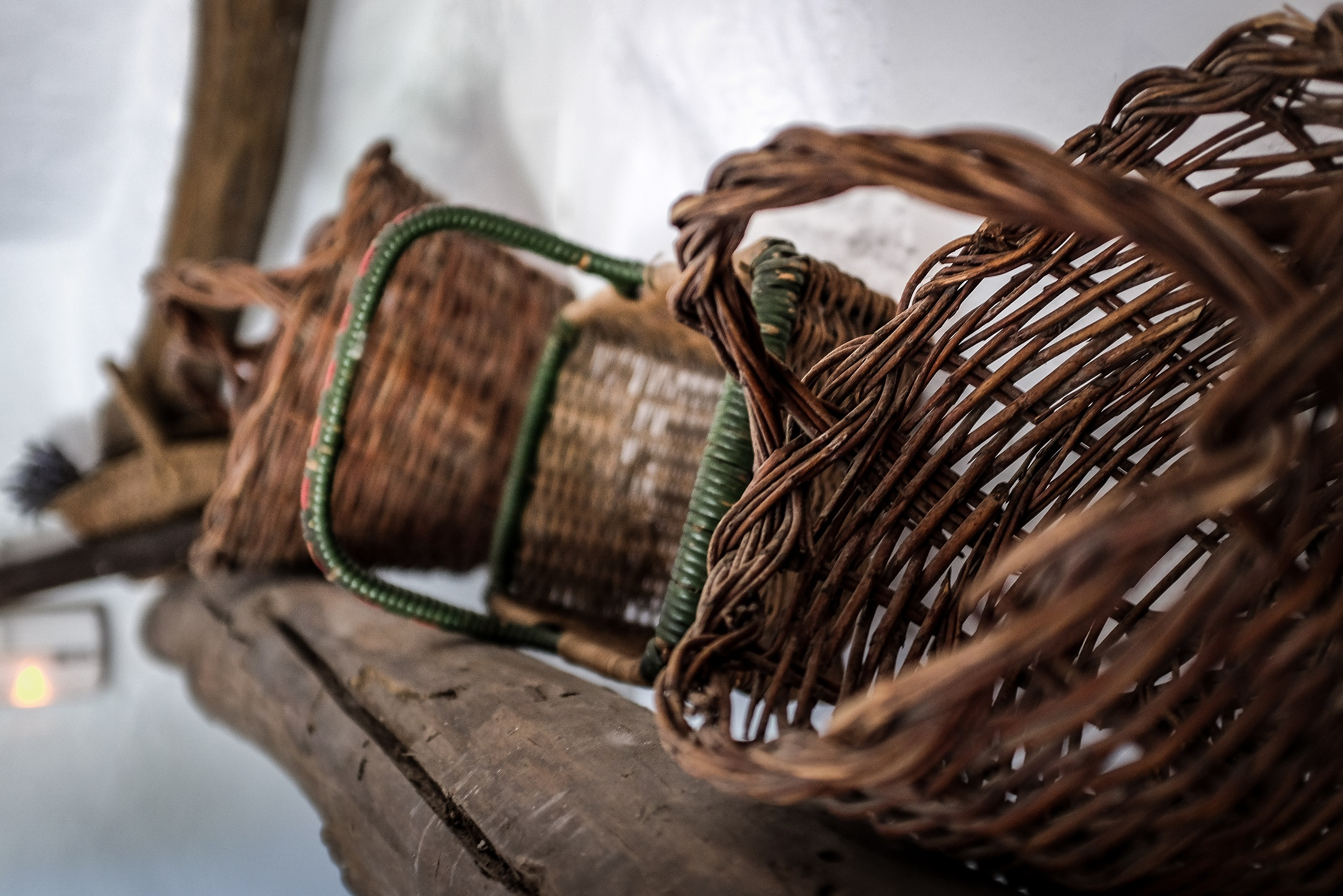 Old basket collection at rural b&b Finca Las Encinas near Iznajar